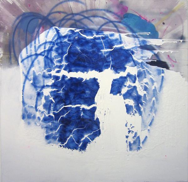"""MICHAEL MOOS """"Eiswürfel"""", 2007, Lack, Acryl, Dispersion auf Leinwand  140 x 140 cm"""